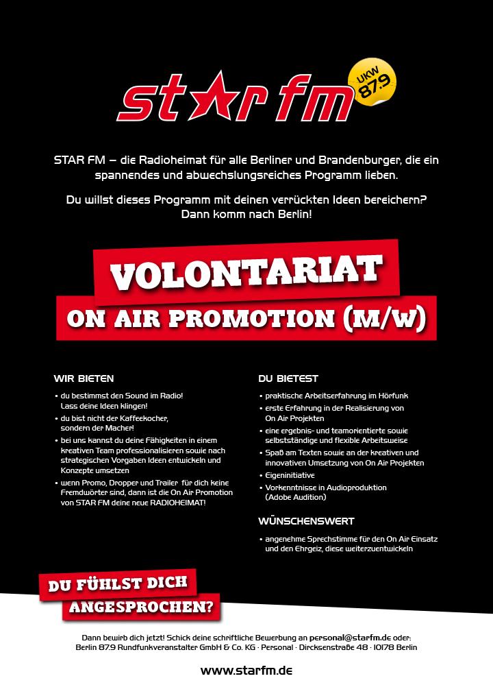 STAR FM – die Radioheimat für alle Berliner und Brandenburger, die ein spannendes und abwechslungsreiches Programm lieben. Du willst dieses Programm mit deinen verrückten Ideen bereichern? Dann komm nach Berlin!