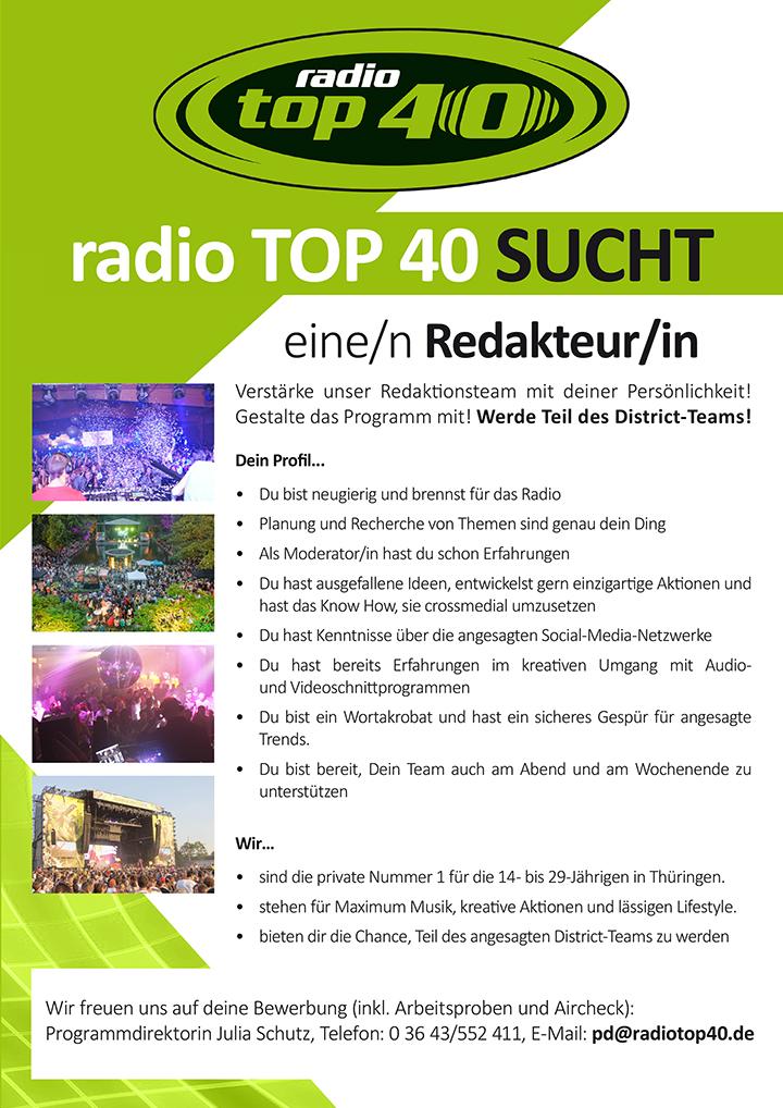 radio TOP 40 ist die private Nummer 1 für die 14- bs 29-Jährigen in Thüringen.