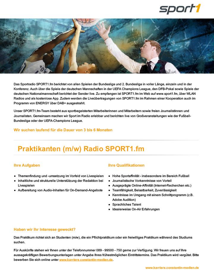 Das Sportradio SPORT1.fm berichtet von allen Spielen der Bundesliga und 2. Bundesliga in voller Länge, einzeln und in der Konferenz. Auch über die Spiele der deutschen Mannschaften in der UEFA Champions League, den DFB-Pokal sowie Spiele der deutschen Nationalmannschaft berichtet der Sender live. Zu empfangen ist SPORT1.fm im Web auf www.sport1.fm, über WLAN Radios und als kostenlose App. Zudem werden die Liveübertragungen von SPORT1.fm im Rahmen einer Kooperation auch im Programm von ENERGY über DAB+ ausgestrahlt.