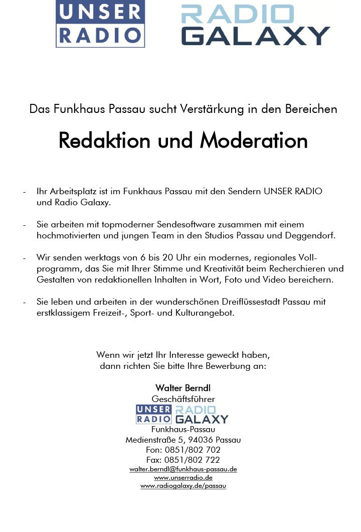 Das Funkhaus Passau sucht Verstärkung in den Bereichen Redaktion und Moderation