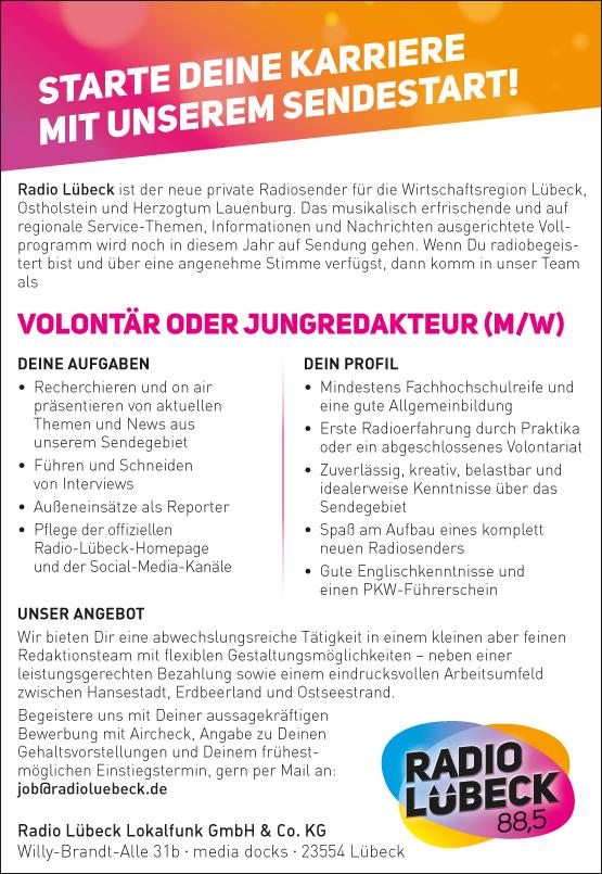 Radio Lübeck ist der neue private Radiosender für die Wirtschaftsregion Lübeck, Ostholstein und Herzogtum Lauenburg. Das musikalisch erfrischende und auf regionale Service-Themen, Informationen und Nachrichten ausgerichtete Vollprogramm wird noch in diesem Jahr auf Sendung gehen.