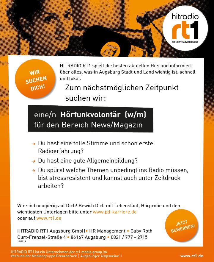 HITRADIO RT1 spielt die besten aktuellen Hits und informiert über alles, was in Augsburg Stadt und Land wichtig ist, schnell und lokal.