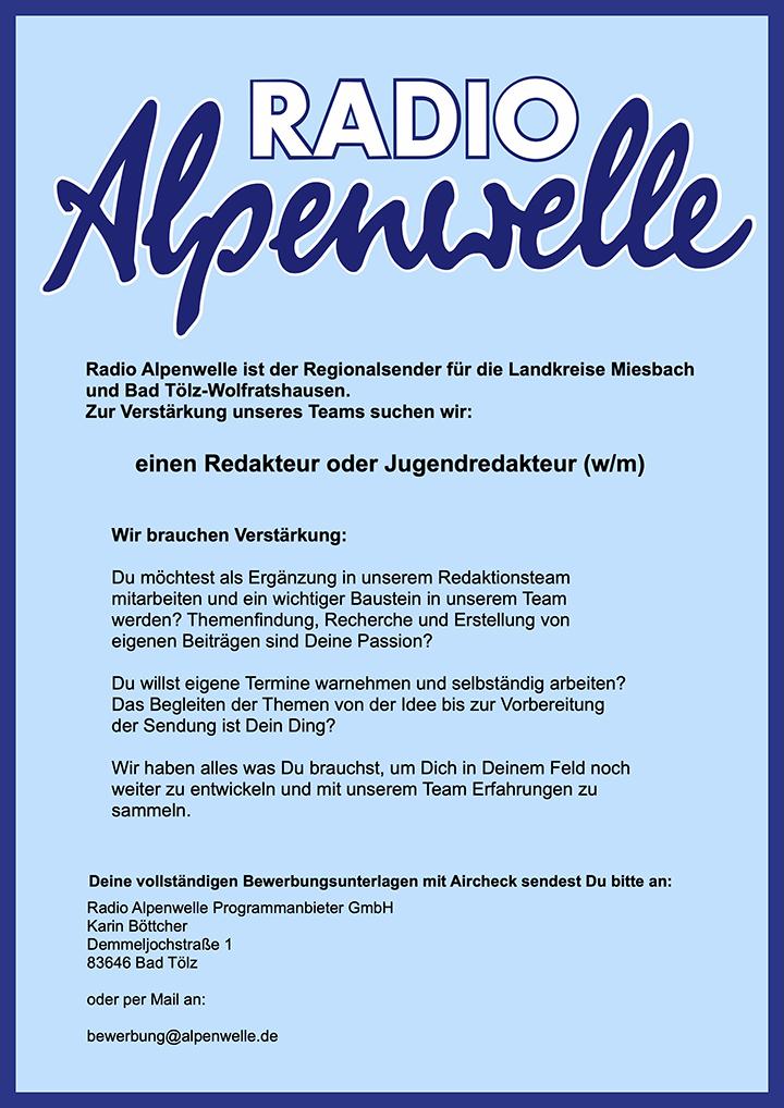 Radio Alpenwelle ist der Regionalsender für die Landkreise Miesbach und Bad Tölz-Wolfratshausen.