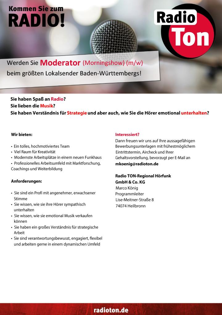 Werden Sie Moderator (Morningshow) (m/w) beim größten Lokalsender Baden-Württembergs!