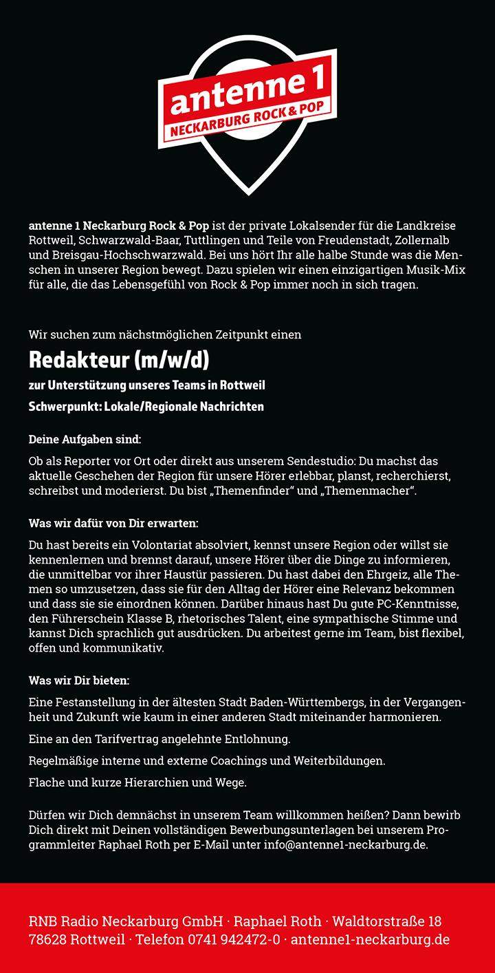 antenne 1 Neckarburg Rock & Pop ist der private Lokalsender für die Landkreise Rottweil, Schwarzwald-Baar, Tuttlingen und Teile von Freudenstadt, Zollernalb und Breisgau-Hochschwarzwald. Bei uns hört Ihr alle halbe Stunde was die Menschen in unserer Region bewegt. Dazu spielen wir einen einzigartigen Musik-Mix für alle, die das Lebensgefühl von Rock & Pop immer noch in sich tragen.
