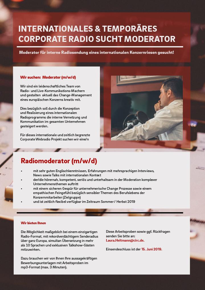 Wir sind ein leidenschaftliches Team von Radio- und Live-Kommunikations-Machern und gestalten aktuell das Change-Management eines europäischen Konzerns kreativ mit. Dies bezüglich soll durch die Konzeption und Realisierung eines internationalen Radioprogramms die interne Vernetzung und Kommunikation im gesamten Unternehmen gesteigert werden.