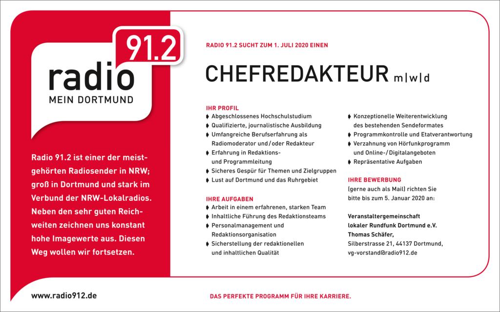 Radio 91.2 ist einer der meistgehörten Radiosender in NRW; groß in Dortmund und stark im Verbund der NRW-Lokalradios. Neben den sehr guten Reichweiten zeichnen uns konstant hohe Imagewerte aus. Diesen Weg wollen wir fortsetzen.